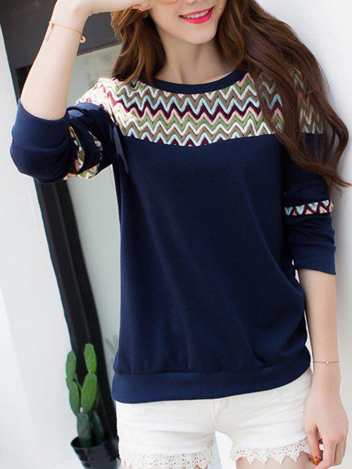 Wave Striped Crew Neck T-Shirt - PURPLISH BLUE 2XL