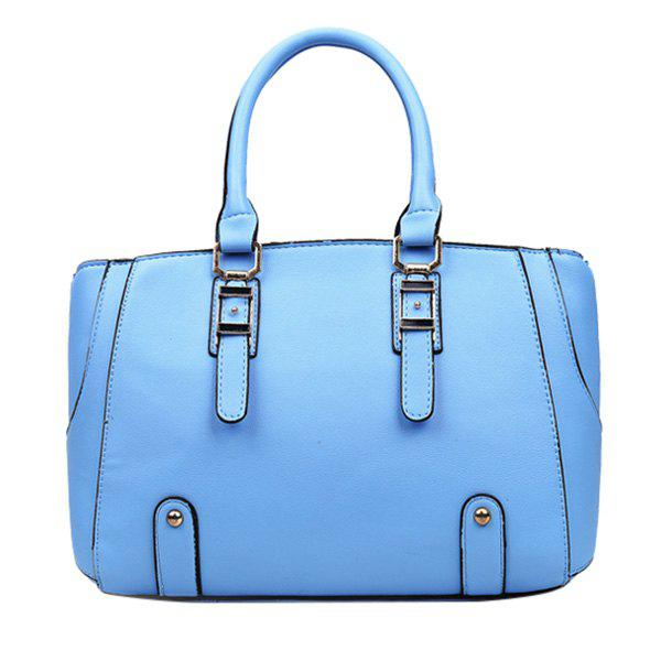Concise PU Leather and Metal Design Women's Tote Bag - AZURE