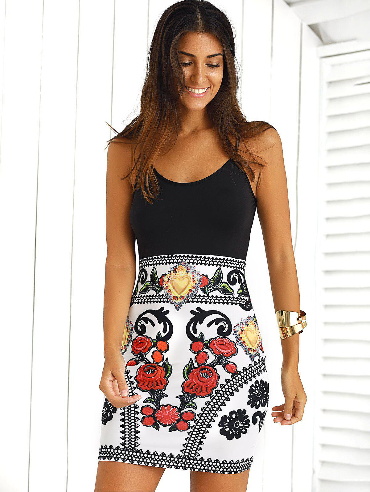 Color Block Floral Sleeveless Bodycon Dress - BLACK/WHITE/RED XL