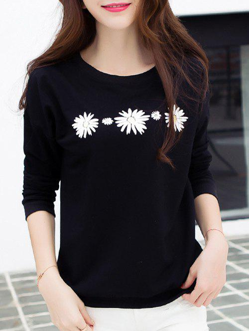 Daisy Print Drop Shoulder T-Shirt - BLACK M