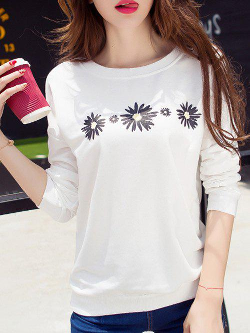 Daisy Print Drop Shoulder T-Shirt - WHITE L