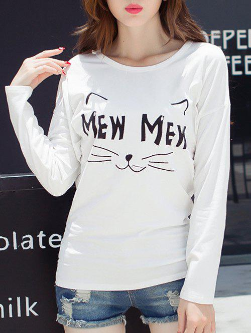 Kitten Print Batwing Sleeve T-Shirt - WHITE L