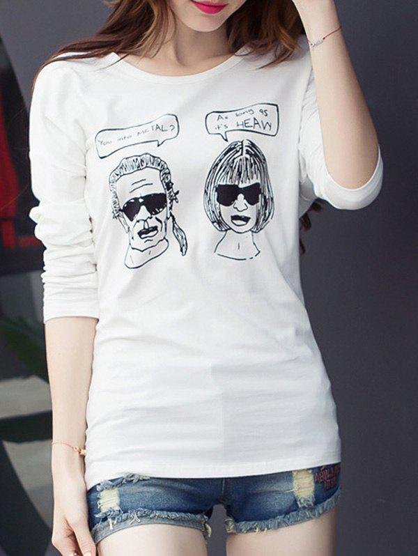 Cartoon Graphic Drop Shoulder T-Shirt - WHITE XL