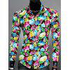 Floral Printed Turn-down Collar Men's Long Sleeve Shirt - BLUE 2XL