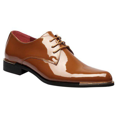 Trendy Patent Leather and Tie Up Design Men's Formal Shoes - LIGHT BROWN 42