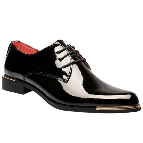Trendy Patent Leather and Tie Up Design Men's Formal Shoes - BLACK 40