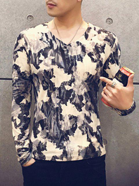 Trendy V-Neck Long Sleeves Maple Leaves Print Tee For Men - COLORMIX M