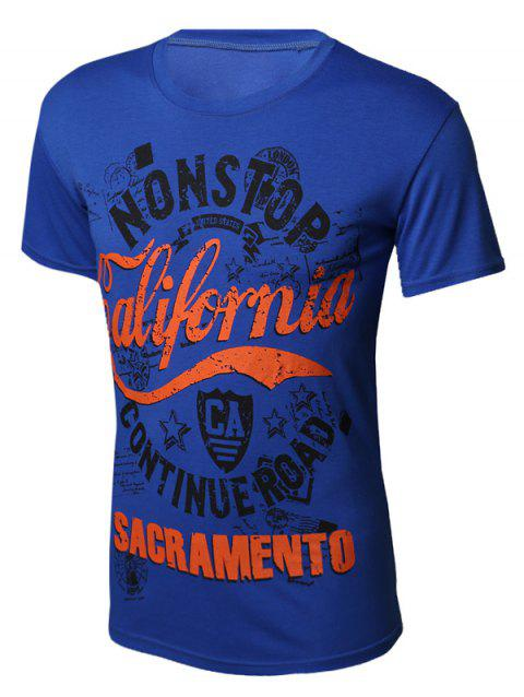 Color Block Letters Printed Round Neck Short Sleeve Men's T-Shirt - BLUE M