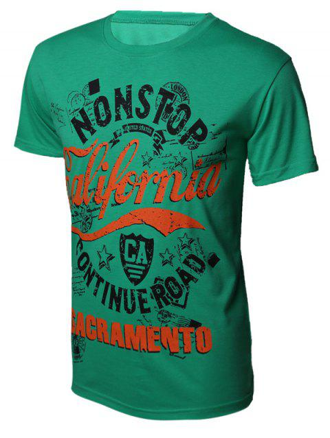 Color Block Letters Printed Round Neck Short Sleeve Men's T-Shirt - GREEN M