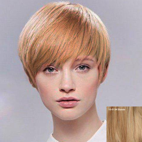 Attractive Short Hairstyle Capless Straight Women's Human Hair Wig - BLONDE