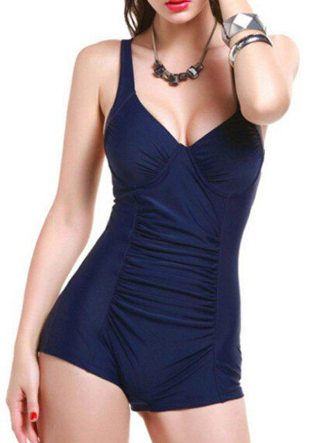 Stylish Ruched Open Back Swimwear For Women - PURPLISH BLUE 2XL