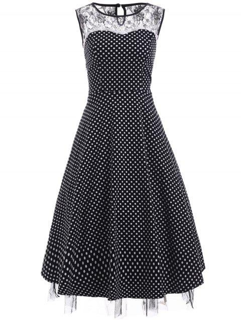 Vintage Lace Insert Polka Dot Cocktail Dress - BLACK S