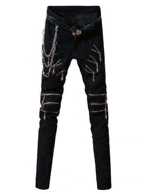 Zipper Fly Zip-Up Embellished Design Narrow Feet Men's Pants - BLACK 32