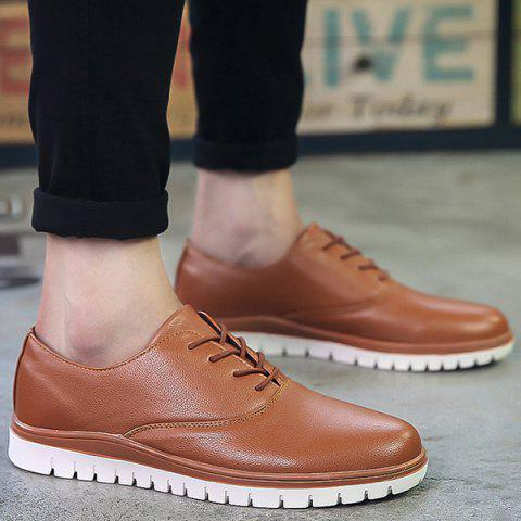 Concise Round Toe and Lace-Up Design Men's Casual Shoes - BROWN 40