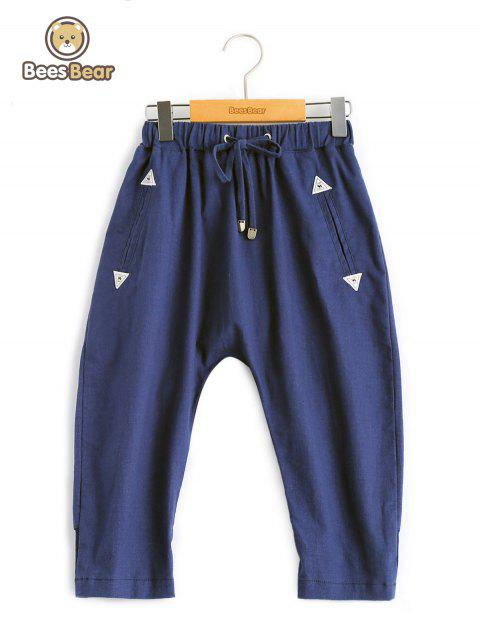 Girl's Triangle Design Drawstring Pants - DEEP BLUE CHILD-10
