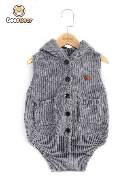 Pocket design High Low capuche Fille de manches Cardigan - Gris CHILD-10