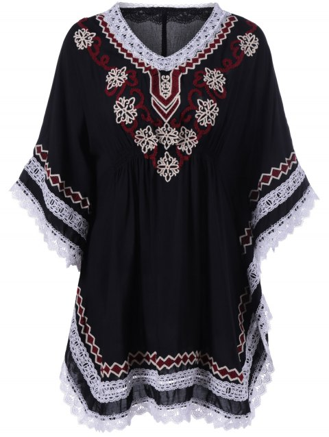 Ethnic Style Crochet Embroidery Bat Sleeve Dress - BLACK ONE SIZE(FIT SIZE XS TO M)