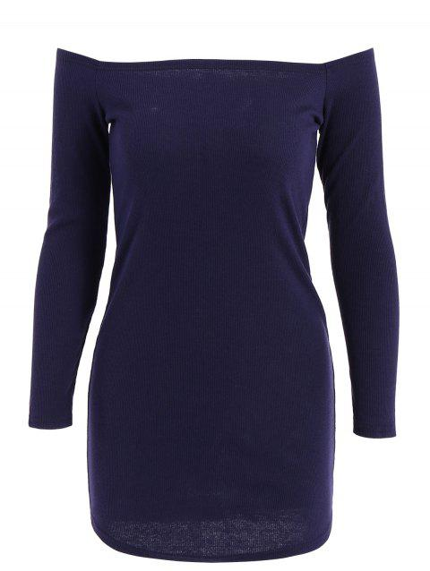 Stylish Off-The-Shoulder Solid Color Knitted Long Sleeve Women's Dress - DEEP BLUE M