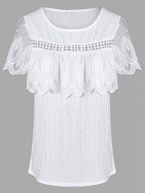 Sweet Overlay Laciness Blouse For Women - WHITE L