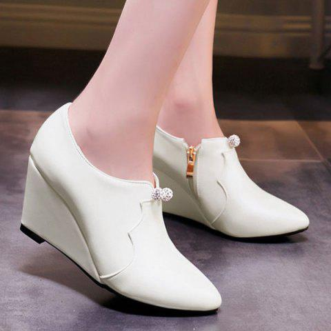 Chic Zipper and Rhinestones Design Women's Wedge Shoes - OFF WHITE 38
