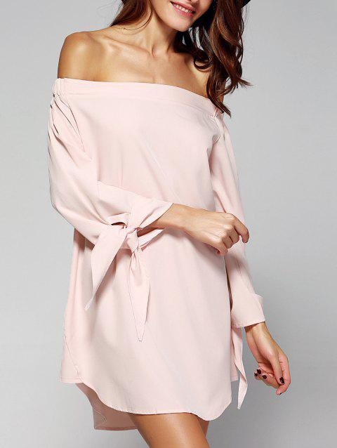 Sweet Women's Off-The-Shoulder Bowknot Loose Dress - PINK M