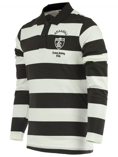Stripe Embroidery Long Sleeve Polo T-Shirt - COFFEE M