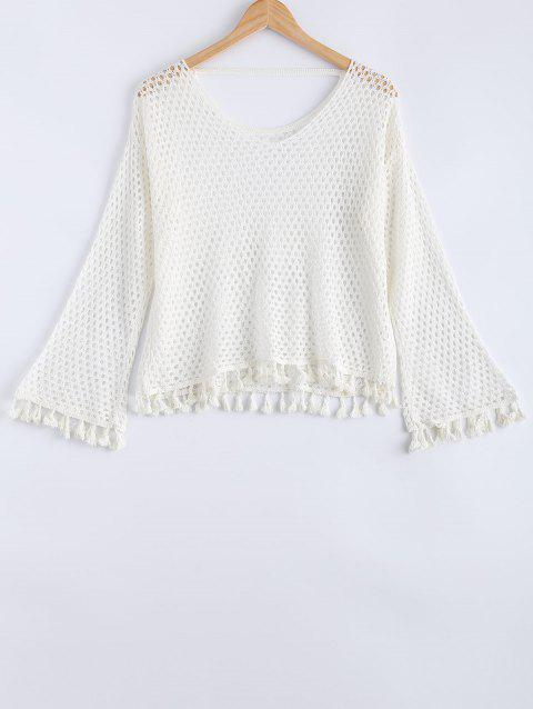 Frangée dos ouvert Crochet à manches longues Pull - Blanc ONE SIZE(FIT SIZE XS TO M)