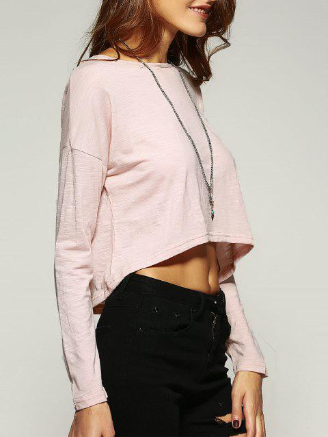 Elegant Back Lace Crochet Spliced Cropped Blouse - LIGHT APRICOT S