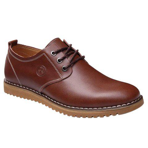 Fashionable Tie Up and PU Leather Design Men's Formal Shoes - BROWN 40