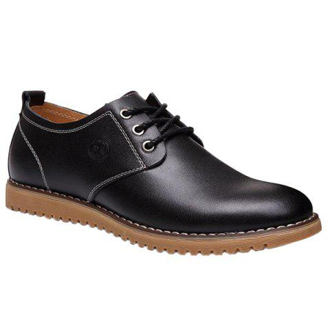 Fashionable Tie Up and PU Leather Design Men's Formal Shoes - BLACK 42