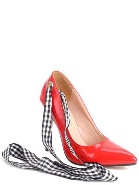 Party Asymmetric and Stiletto Heel Design Women's Pumps - RED 38