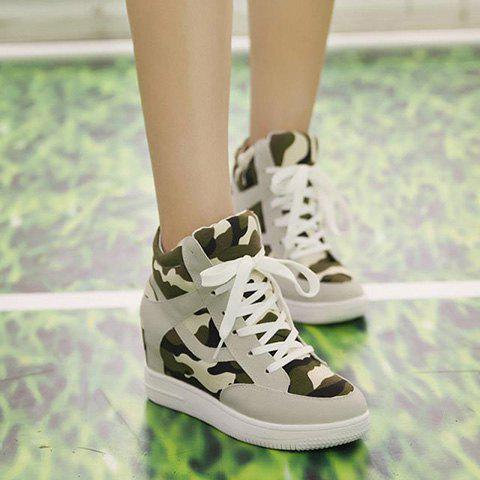 cd0a527c24ec Trendy Camouflage and Hidden Wedge Design Women s Sneakers - GRAY 38