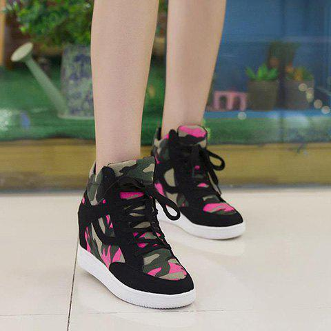 d0bce8e61c8d Trendy Camouflage and Hidden Wedge Design Women s Sneakers - BLACK 39
