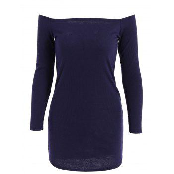 Stylish Off-The-Shoulder Solid Color Knitted Long Sleeve Women's Dress