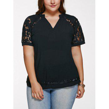 Buy Chic V Neck Lace Splicing Plus Size T-Shirt BLACK