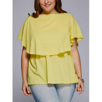 Chic Slash Neck Plus Size Cape Blouse