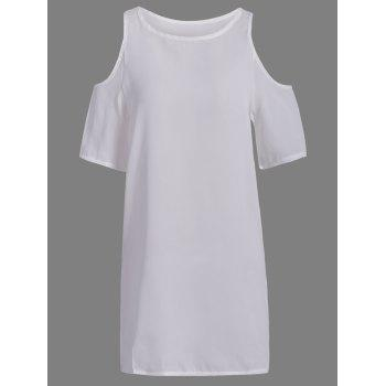 Brief Style Round Neck Short Sleeve Hollow Out Chiffon Women's White Dress