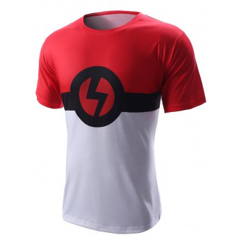 Round Neck Lightning Sign Design Short Sleeve Men's T-Shirt