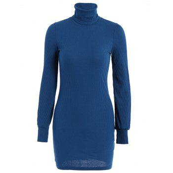 Casual Long Sleeve Turtleneck Pure Color Knitted Women's Dress