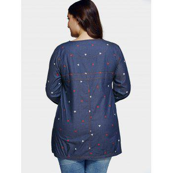 Plus Size Casual Square Pattern Denim Blouse - BLUE L