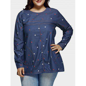 Plus Size Casual Square Pattern Denim Blouse
