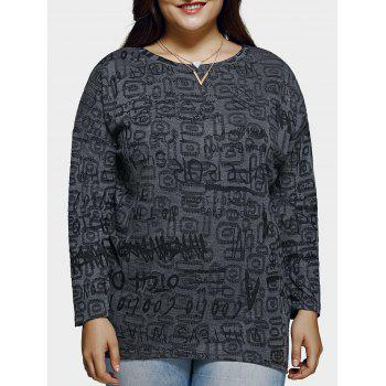 Plus Size Casual Letter Pattern Baggy Blouse - DEEP GRAY DEEP GRAY