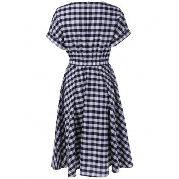 Casual Plaid Print Fit and Flare Dress - CHECKED XL