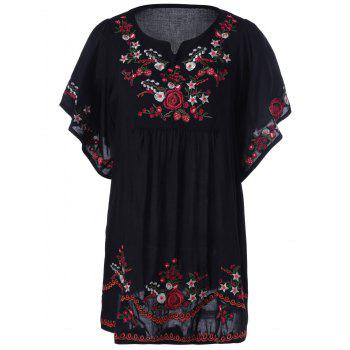 Buy Loose-Fitting Embroidered Short Sleeves Blouse BLACK