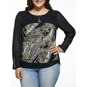 Oversized Chic Long Sleeve Abstract Print Blouse
