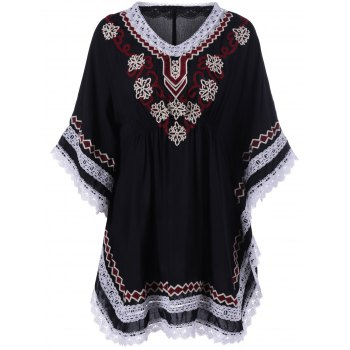 Ethnic Style Crochet Embroidery Bat Sleeve Dress