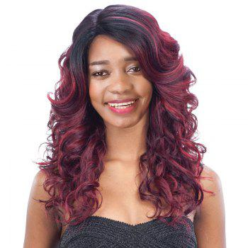 Women's Long Side Parting Curly Black Mixed Wine Red Fashion Synthetic Hair Wig