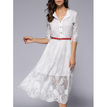 See-Through Lace Casual Shirt Dress Fall