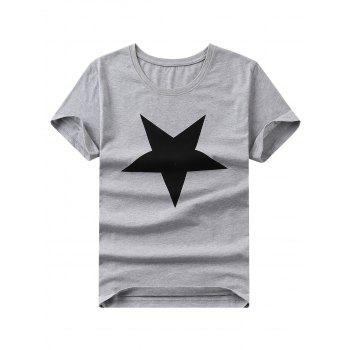 Brief Style Star Print Round Neck Short Sleeves Tee For Men