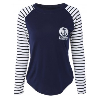 Raglan Sleeve Applique Decorated T-Shirt